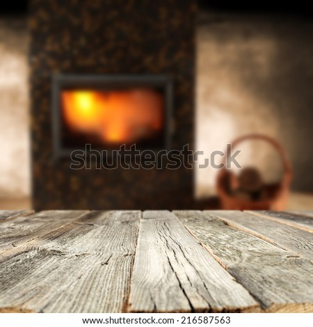 desk of wood and fireplace