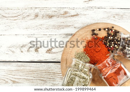 desk of wood and spices space in kitchen  - stock photo