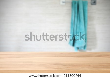 desk of yellow and towel  - stock photo