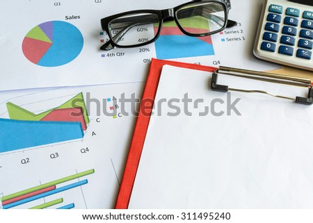 Desk office business financial accounting calculate, Graph analysis with copy space - stock photo