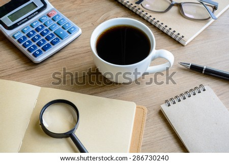 Desk office business financial accounting calculate, workplace - stock photo