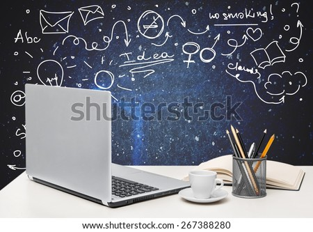 Desk. Office workplace with computer, close up - stock photo