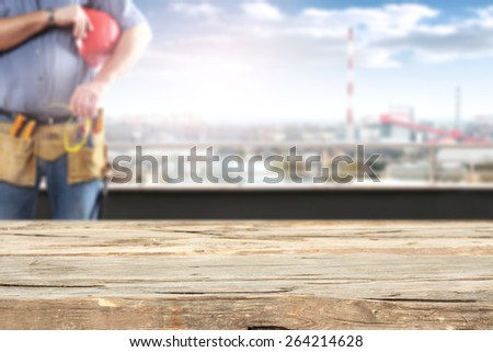 desk place and worker on terrace  - stock photo