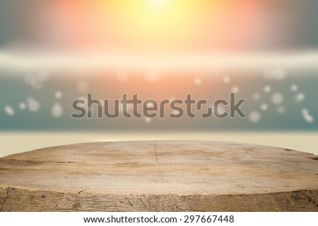 desk space and beach side twilight sky vintage tone background - stock photo