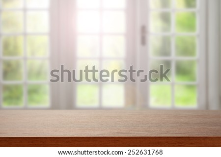 desk space of brown and window place  - stock photo