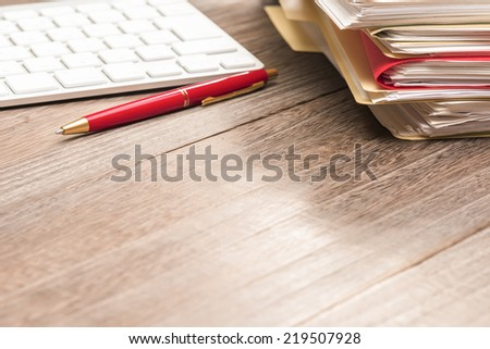 Desk.Stacked file. - stock photo