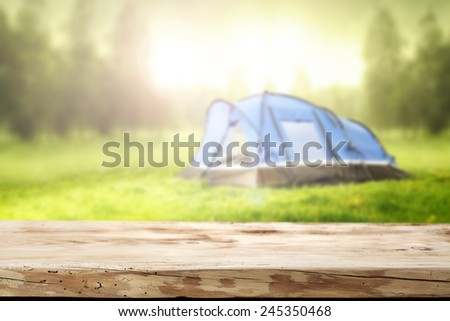 desk tent and garden of green   - stock photo