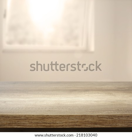 desk window and sunlight in room  - stock photo