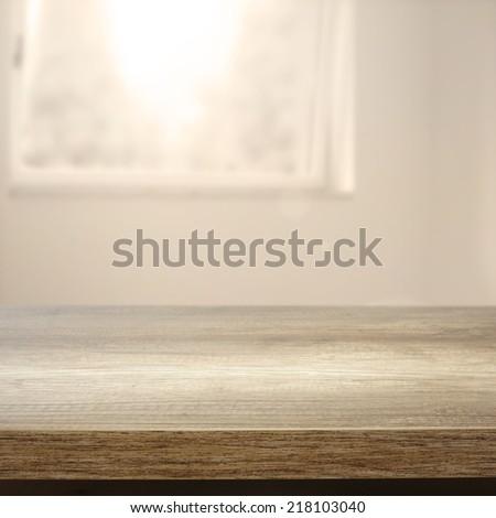 desk window and sunlight in room  - stock photo
