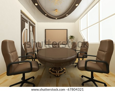 Desk with chairs in office interior. Workplace - stock photo