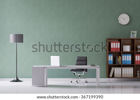Desk with laptop computer in a home office (3D Rendering) - stock photo
