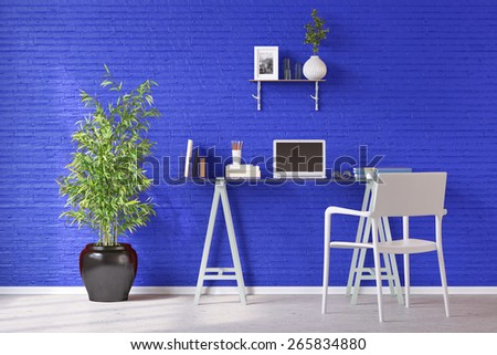Desk with laptop computer in front of a blue wall in a home office (3D Rendering) - stock photo