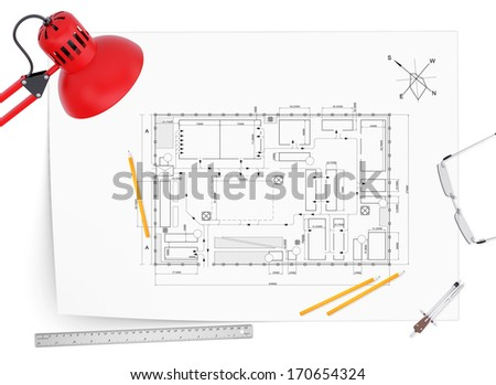 Desktop architect. Drawing, lamp, tools engineer and a cup of coffee - stock photo