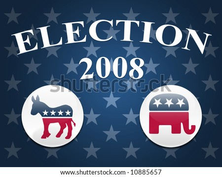 Desktop background with blue stars and democrat and republican logo buttons