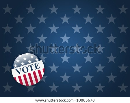 Desktop background with blue stars and vote button - stock photo