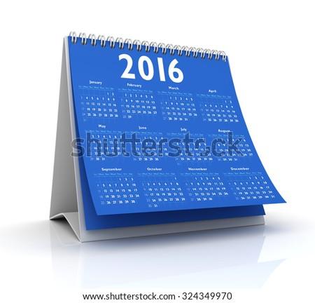 Desktop blue Calendar 2016 isolated - stock photo