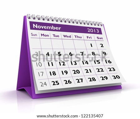 desktop calendar February 2013 in white background