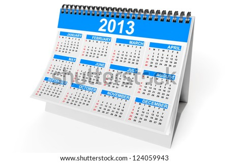 Desktop calendar for 2013 year on a white background