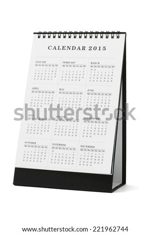 Desktop calendar 2015 on white background