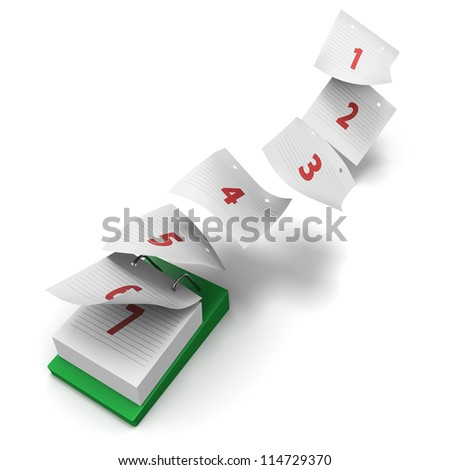Desktop calendar showing how 7 days fly by on white background without day names as a generic first week - stock photo