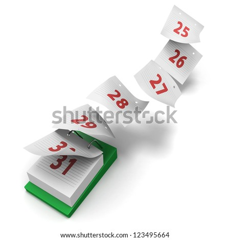 Desktop calendar showing how 7 days fly by on white background without day names as a generic last week - stock photo