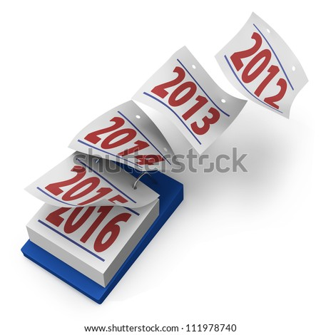 Desktop calendar showing how years fly by from 2012 to 2016 on white background - stock photo