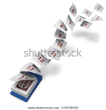 Desktop calendar with 15 days flying by till TAX TIME on white background - stock photo