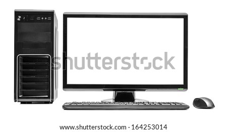 Desktop computer and keyboard and mouse on white - stock photo