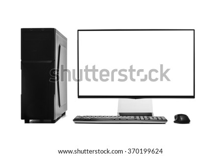 Desktop computer isolated on a white background. - stock photo