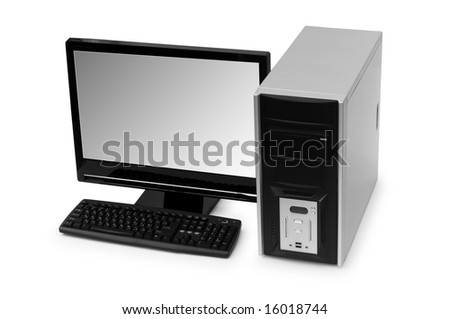 Desktop computer isolated on the white background