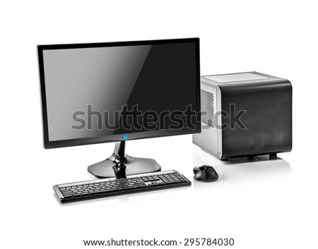 Desktop computer.  Modern computer over white background. - stock photo