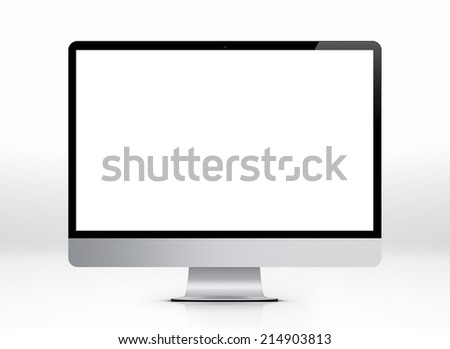 Desktop computer on withe background