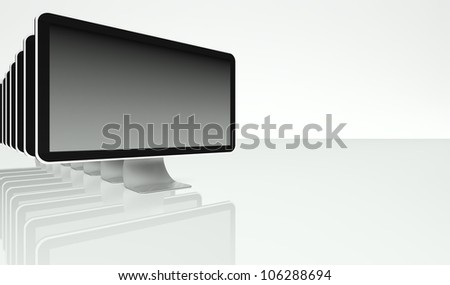 Desktop computer screens in row on white background with text space - stock photo