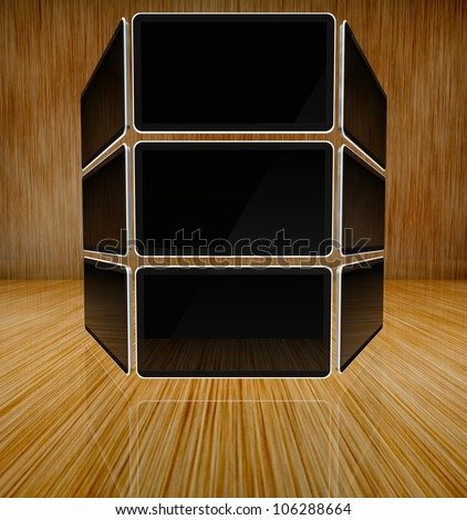 Desktop computer screens on wooden background with text space - stock photo