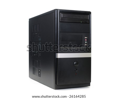 Desktop computer tower in isolated white background