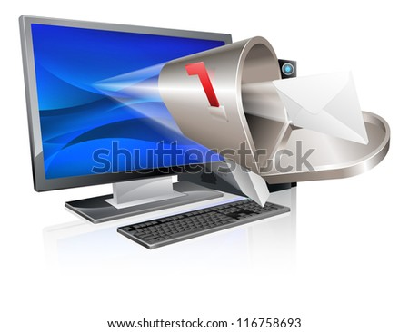 Desktop computer with mailbox and letter envelope flying out of screen, computer email message concept