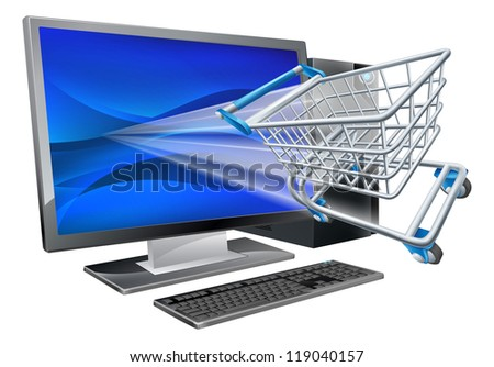 Desktop computer with super market shopping cart trolley flying out of screen, online shopping concept