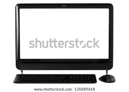 Desktop computer with wireless keyboard and mouse. File contains a path to cut. - stock photo