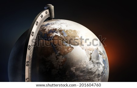 desktop earth globe, with africa europe and asia on dark background Elements of this image furnished by NASA - stock photo