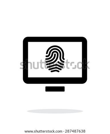 Desktop fingerprint icon on white background. - stock photo