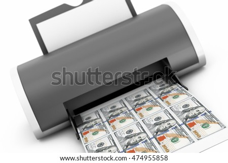 Desktop Home Printer Printed Money on a white background. 3d Rendering