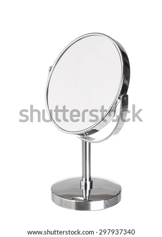 Desktop make up cosmetic mirror isolated on white background - stock photo