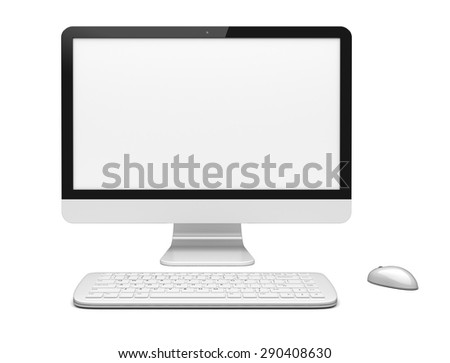 Desktop pc computer with large wide monitor, keyboard and mouse, and a blank screen. Isolated on white. 3d rendered image - stock photo