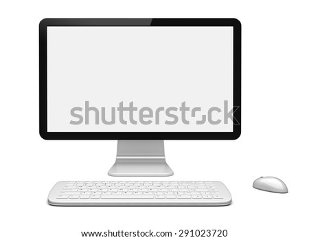 Desktop pc computer with large wide monitor, keyboard and mouse, and a blank screen. Isolated on white. 3d rendered image
