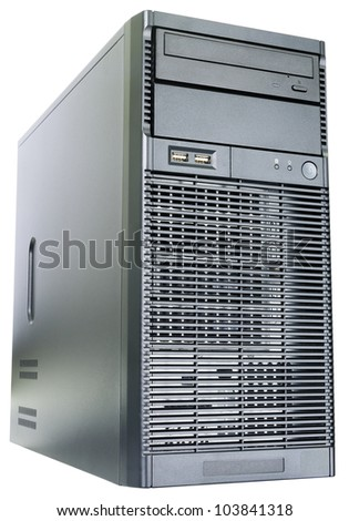 Desktop server  isometric view isolated on the white
