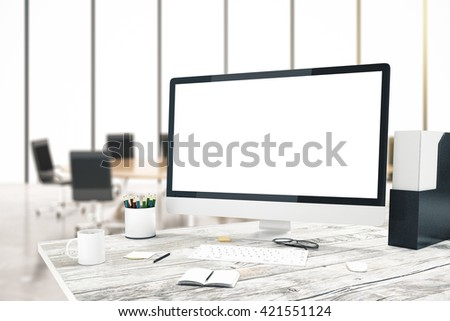 Desktop with blank computer screen in conference room. Mock up, 3D Rendering - stock photo