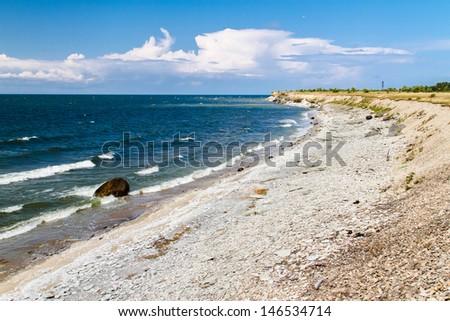 Desolated beach at Vaike Pakri island, Estonia - stock photo