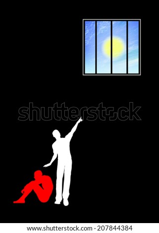 Despair and Hope. Religious concept sign for desperation and the believe in salvation - stock photo