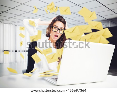 Despair and stress for spam e-mail - stock photo