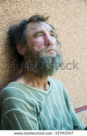 Despair of homeless. - stock photo